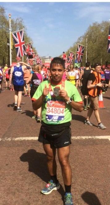Pratik Pradhan after finishing the London Marathon