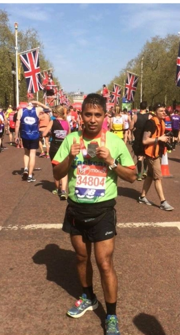 Pratik Pradhan after finishing the London Marathon
